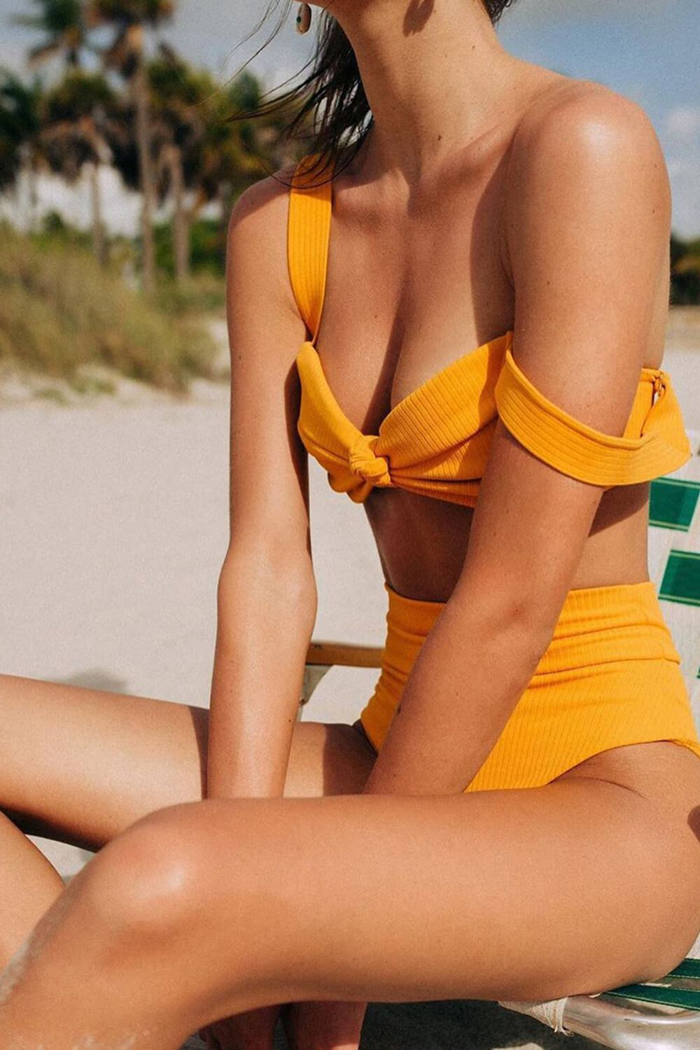 Mango Ribbed High Rise Bikini Bottom
