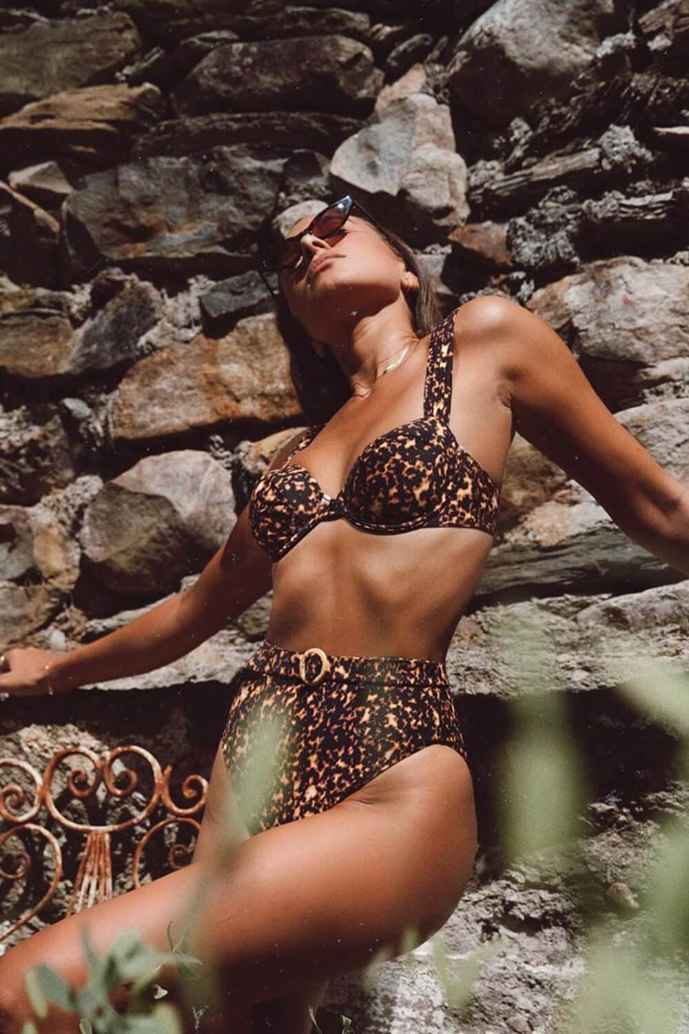 Leopard O-Ring Belted Buckle Bikini Bottom