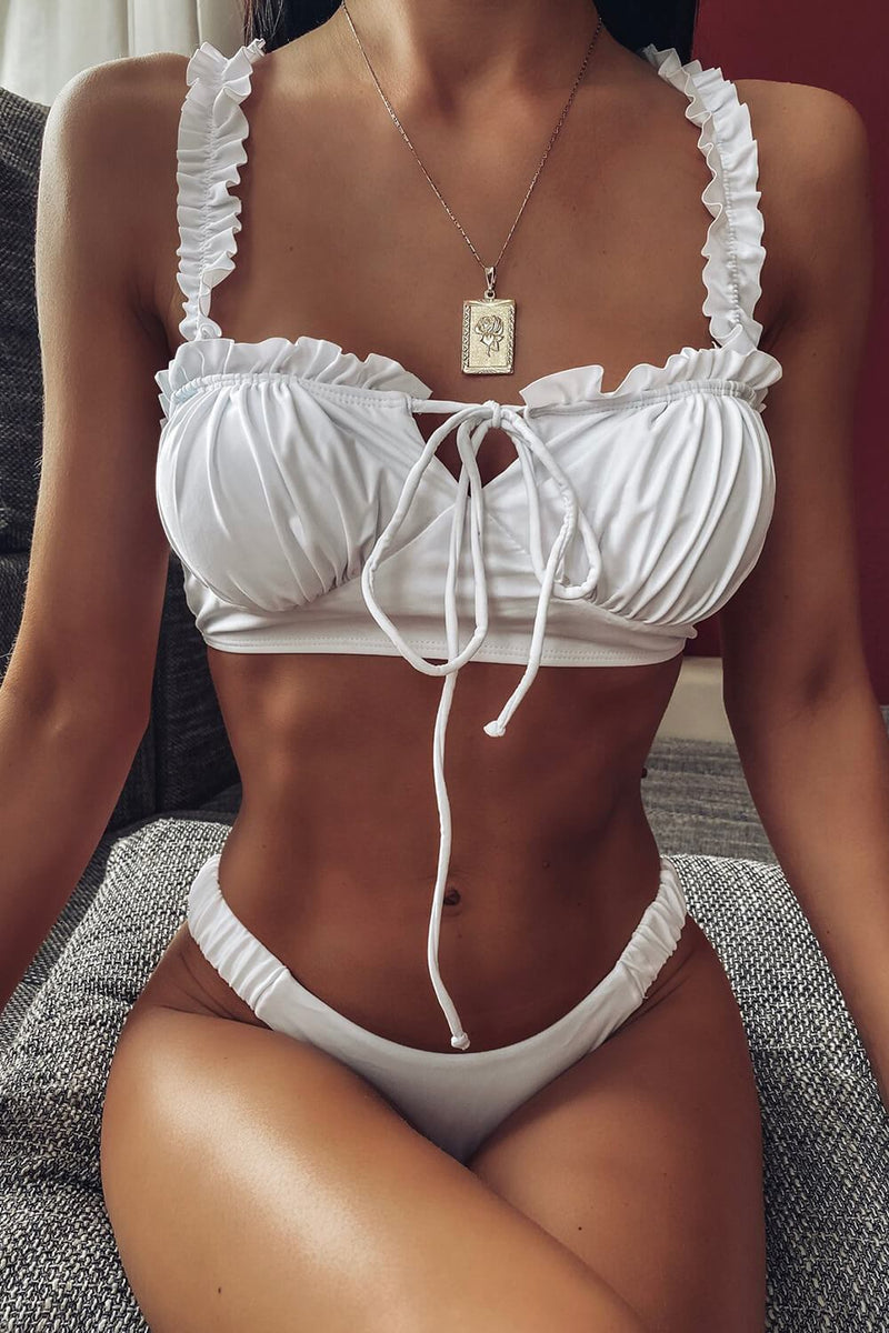 White Tie-Up Ruched Frill Bustier Cropped Bikini Top