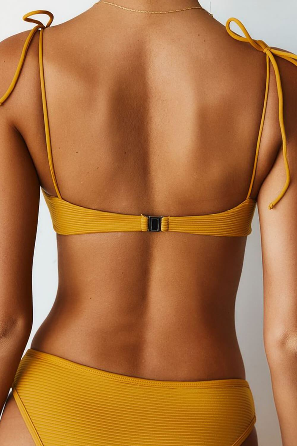 Mustard Ribbed Front Button Tie Shoulder Bikini Top