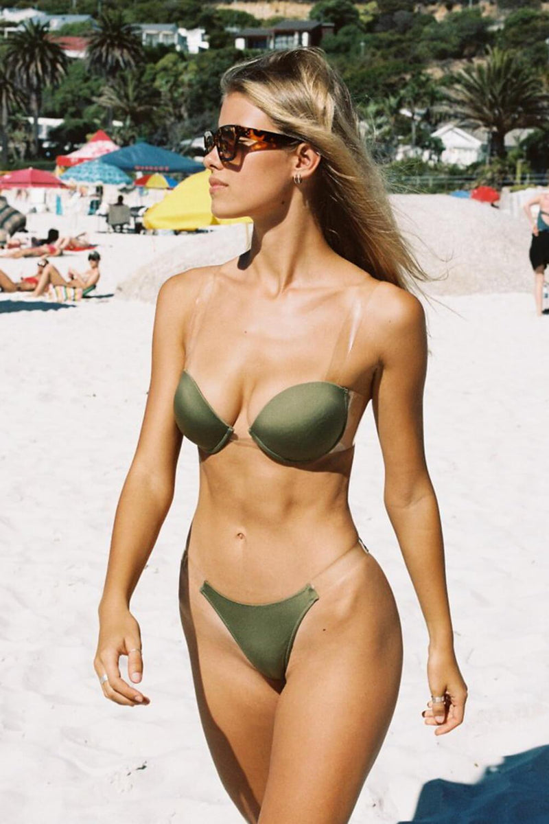 Military Green Clear Strap High Rise Bikini Bottom