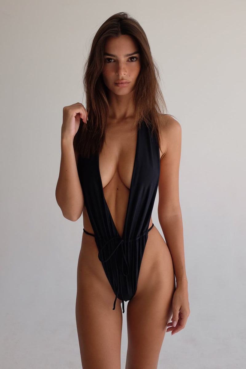 Black Plunge String Tie High Leg Monokini