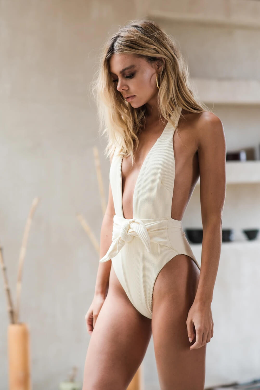 White Ribbed Plunge Halter Tie-Up One Piece Swimsuit