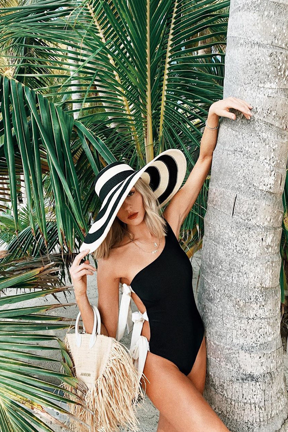 Black Ribbed Tie-Side One Shoulder One Piece Swimsuit