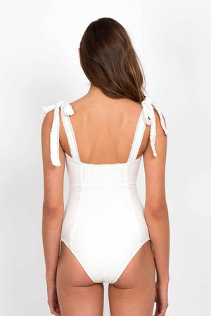 White Textured Pintucked Tie Shoulder One Pice Swimsuit