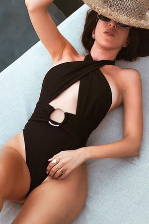 Black Cross Halter Cut Out O-Ring Belt One Piece Swimsuit