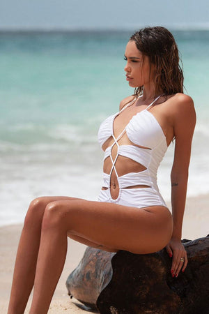 White Lace-Up Cut Out Monokini