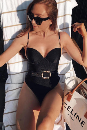 Black Moulded Belted Plunge Ribbed One Piece Swimsuit