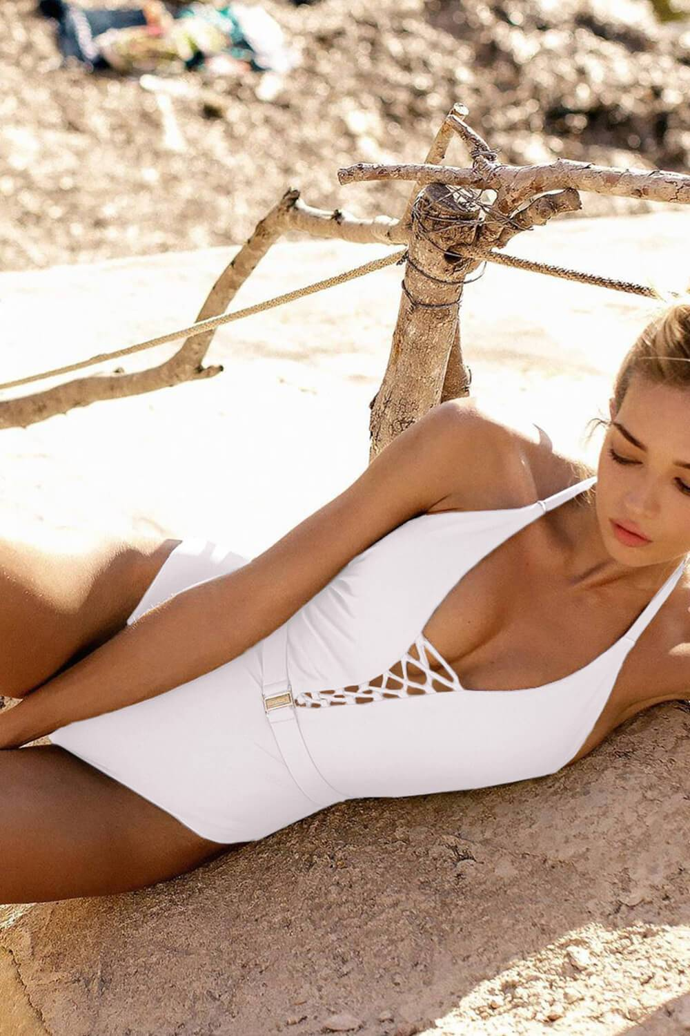 White Criss Cross Halter Belt One Piece Swimsuit