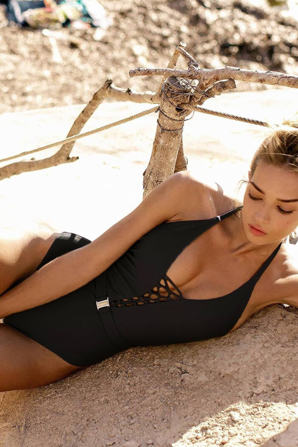 Black Criss Cross Halter Belt One Piece Swimsuit