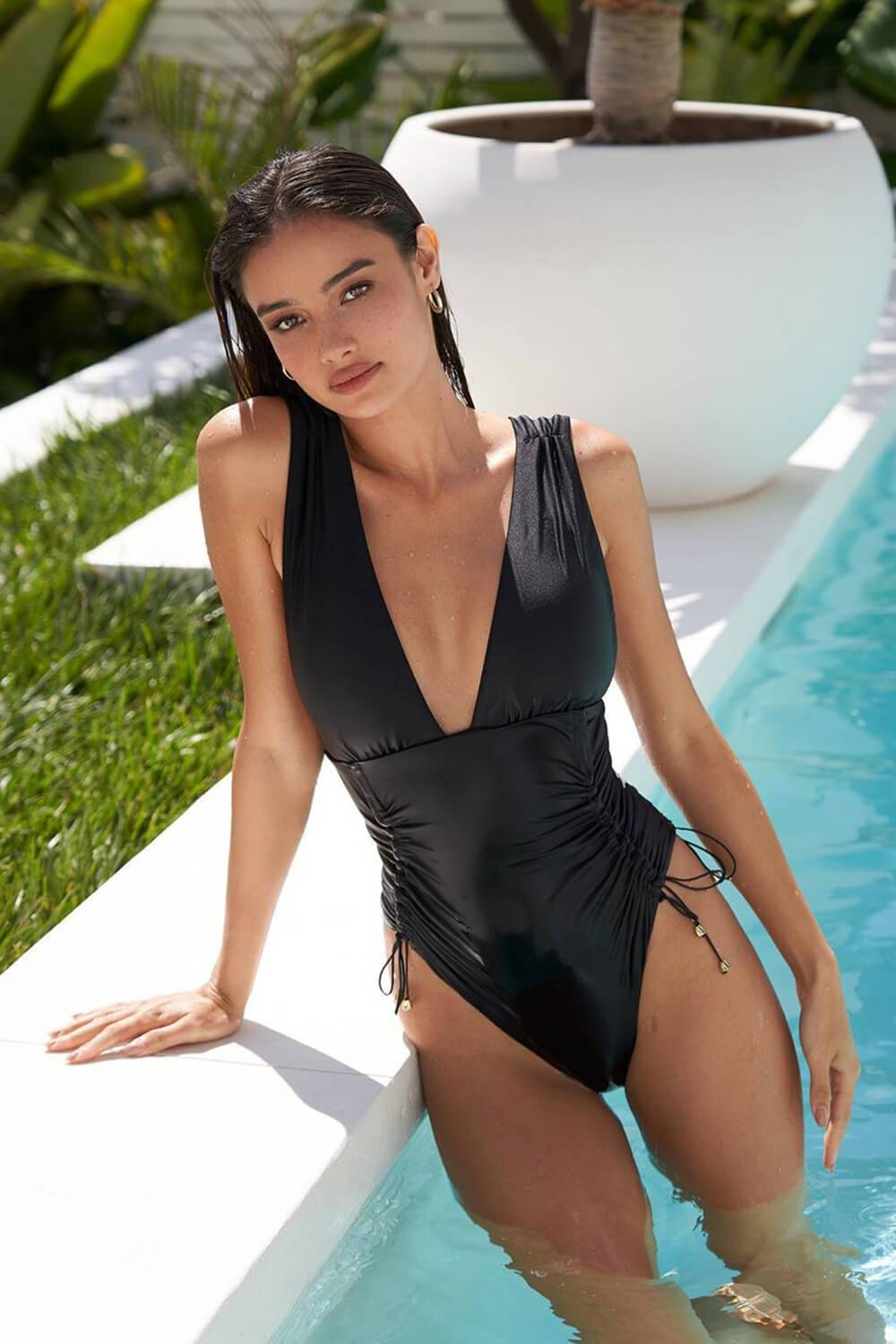 Black Plunge Side Lace-Up One Piece Swimsuit