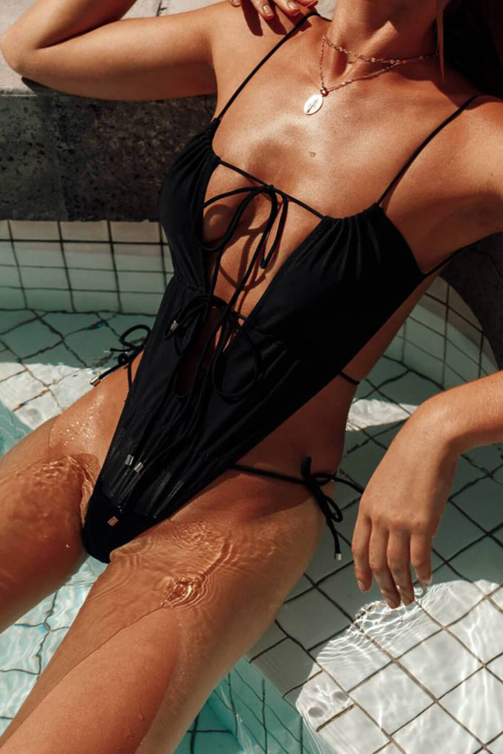 Black Tie Up High Cut One Piece Swimsuit