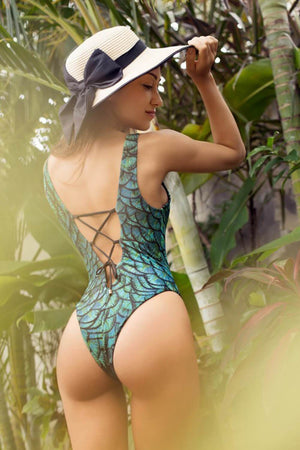 Turquoise Scale V-Neck Swimsuit With Lacing Back