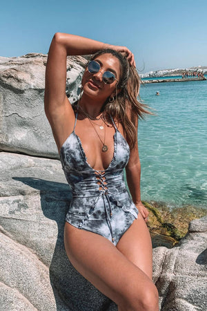 Gray Tie Dye Frill Lace Up Halter One Piece Swimsuit