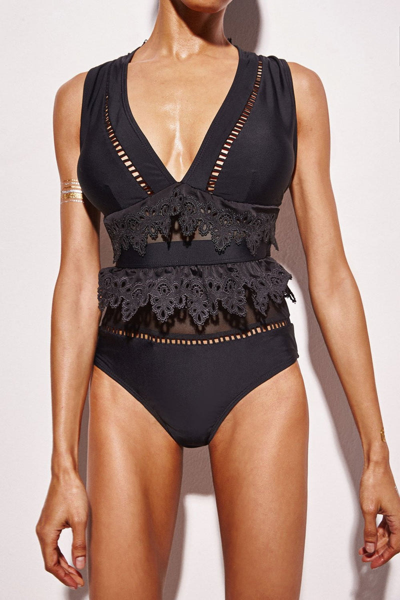 FLORALKINI BLACK PLUNGE CUTOUT LACE TRIM ONE PIECE SWIMSUIT