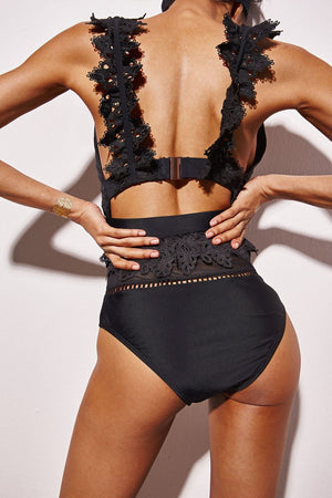 Black Plunge Cutout Lace Trim One Piece Swimsuit (10778013966)