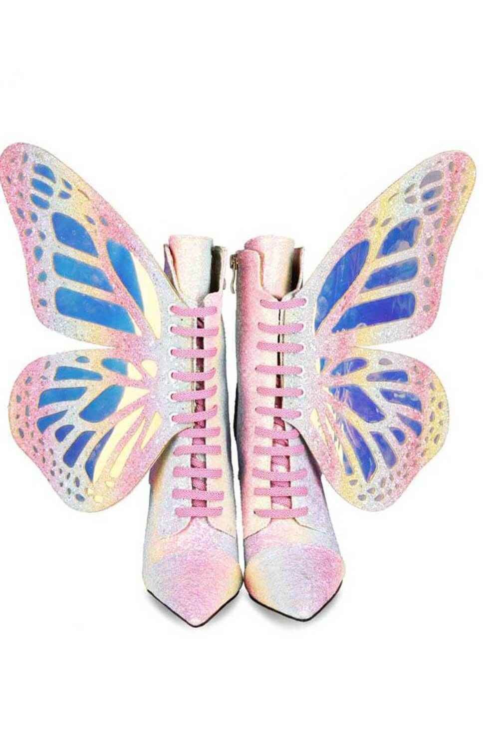 Rainbow Metamorphic Glitter Lace Up Heeled Boots With Butterfly Wings
