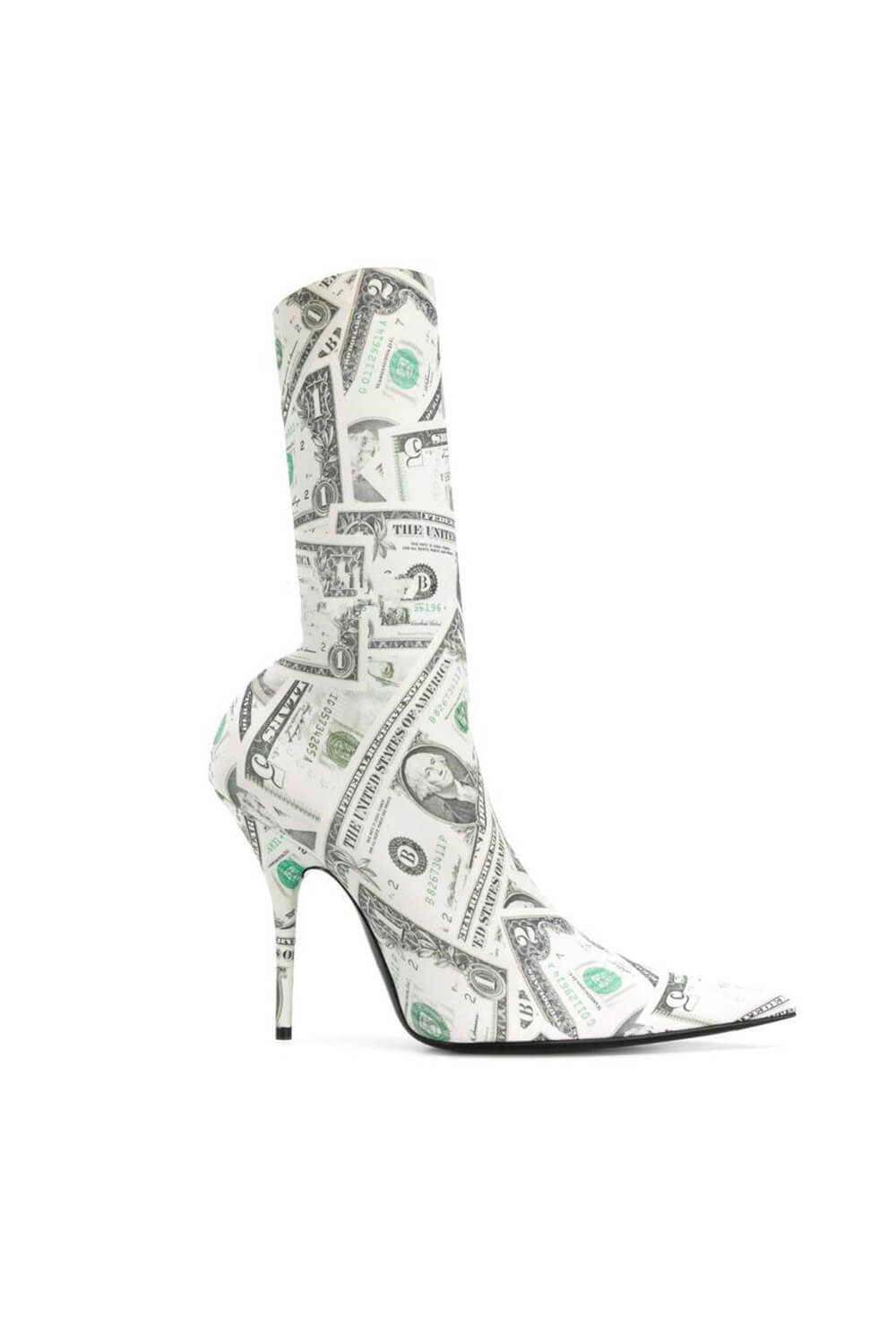 Dollar Print Sock Heeled Bootie