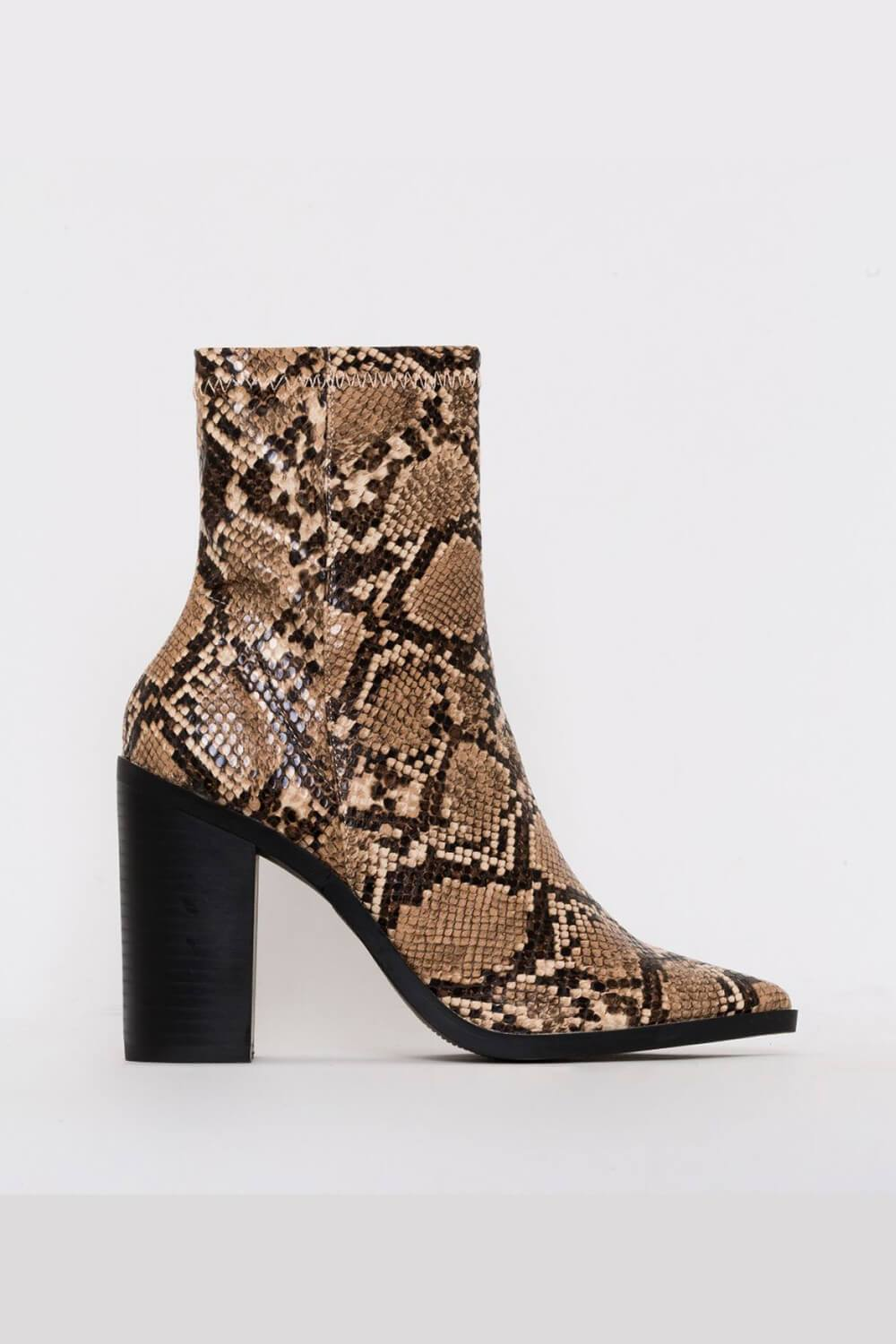 Tan Snake Print Block Heel Ankle Boots