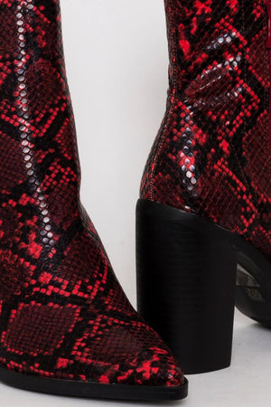 Red Snake Print Block Heel Ankle Boots