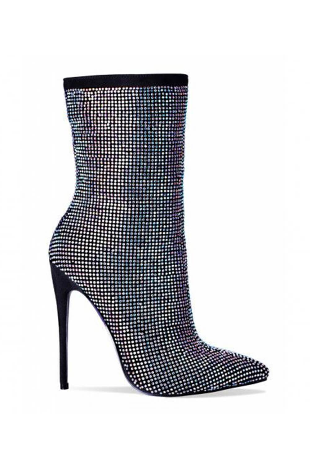 Black Diamante Embellished Ankle Stiletto Boots