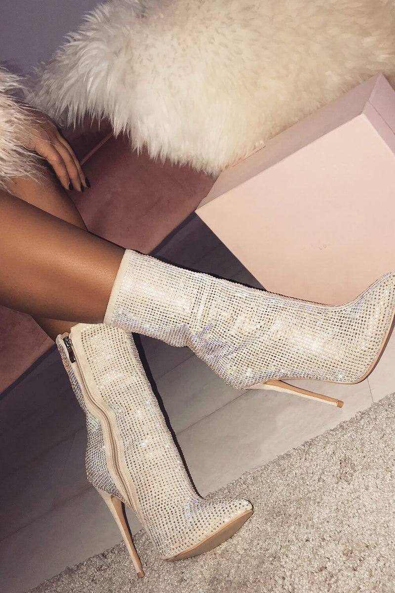 Nude Diamante Embellished Ankle Stiletto Boots