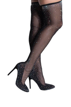 Sparkly Glitz And Glamour Sexy Thigh High Heeled Boots