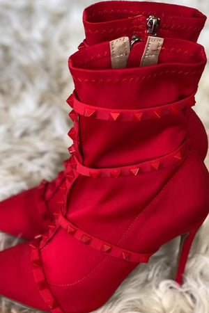 Red Studded Detail Sock Boot