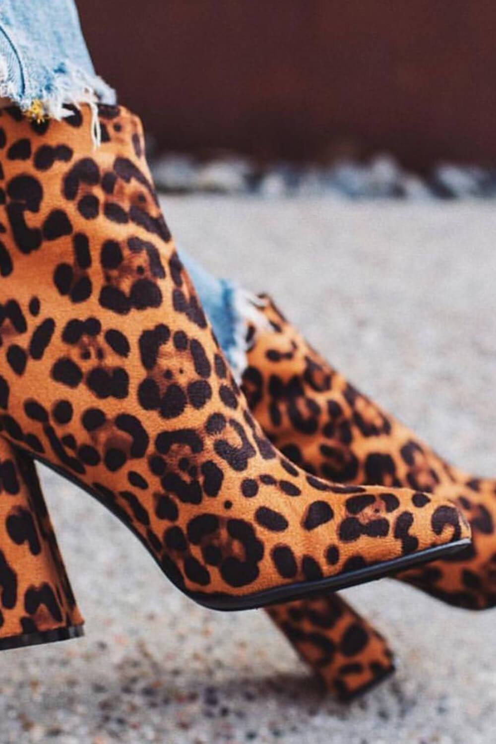 Leopard Print Heeled Ankle Boots