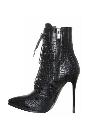 Black Croc Lace Up Pointed Heeled Ankle Boots