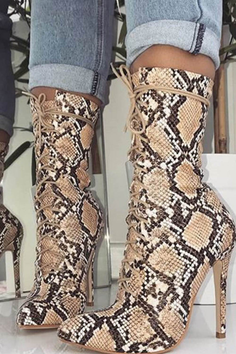 Tan Snake Lace Up Pointed Heeled Ankle Boots