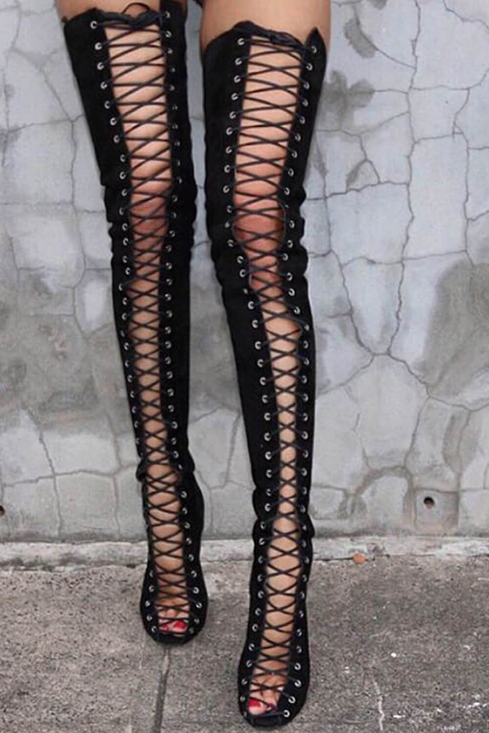 Black Suede Lace Up Peep Toe Thigh High Boots