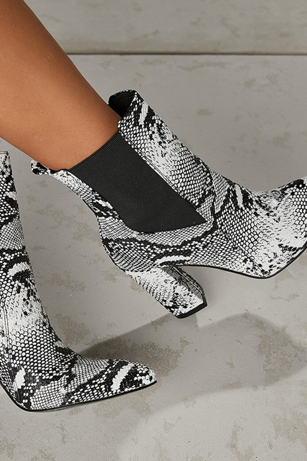 Black And White Snake Pointed Toe Heeled Ankle Boots