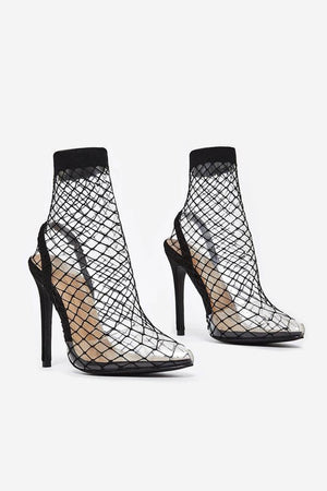 Black Clear Perspex Fishnet Ankle Sock Heels