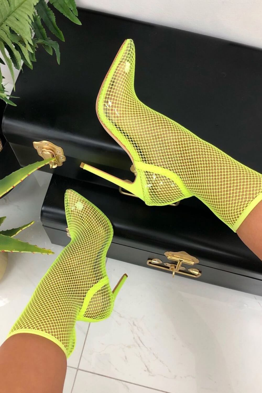 Neon Yellow Clear Perspex Fishnet Ankle Sock Heels