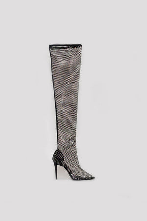 Black Diamante Fishnet Over The Knee Thigh High Long Sock Boots