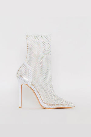 White Diamante Fishnet Ankle Sock Heeled Boots