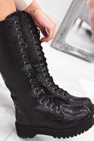 Black Croc Lace Up Chunky Knee High Boots