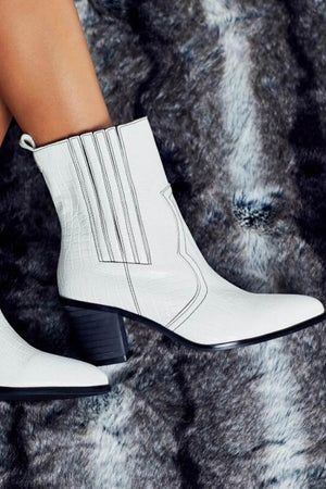 White Croc Western Block Heeled Ankle Boots