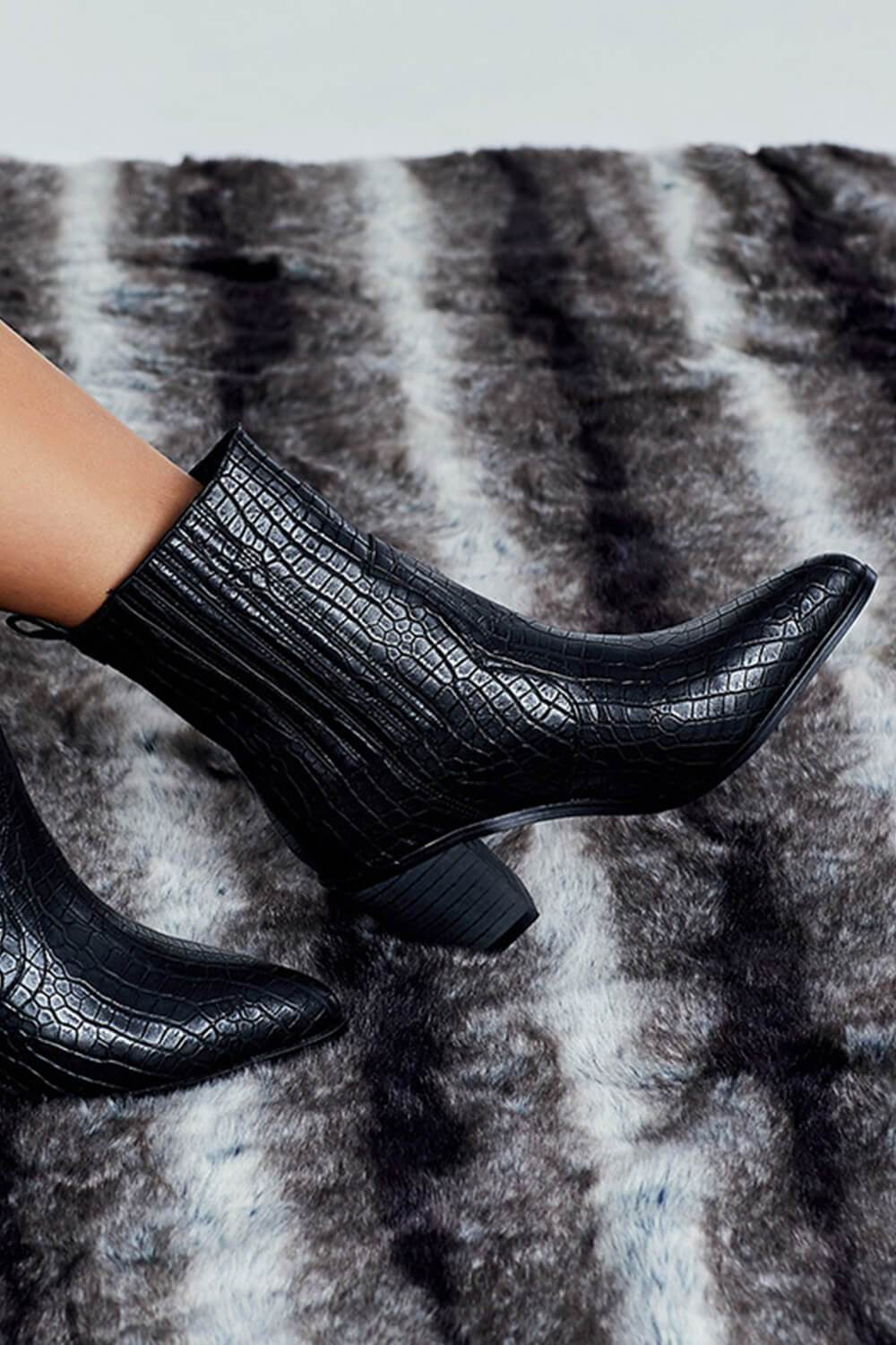 Black Croc Western Block Heeled Ankle Boots