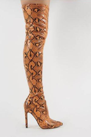 Orange Snake Over The Knee Pointed Toe Boots