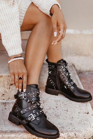 Black Stud Buckle Strap Lace Up Biker Boots