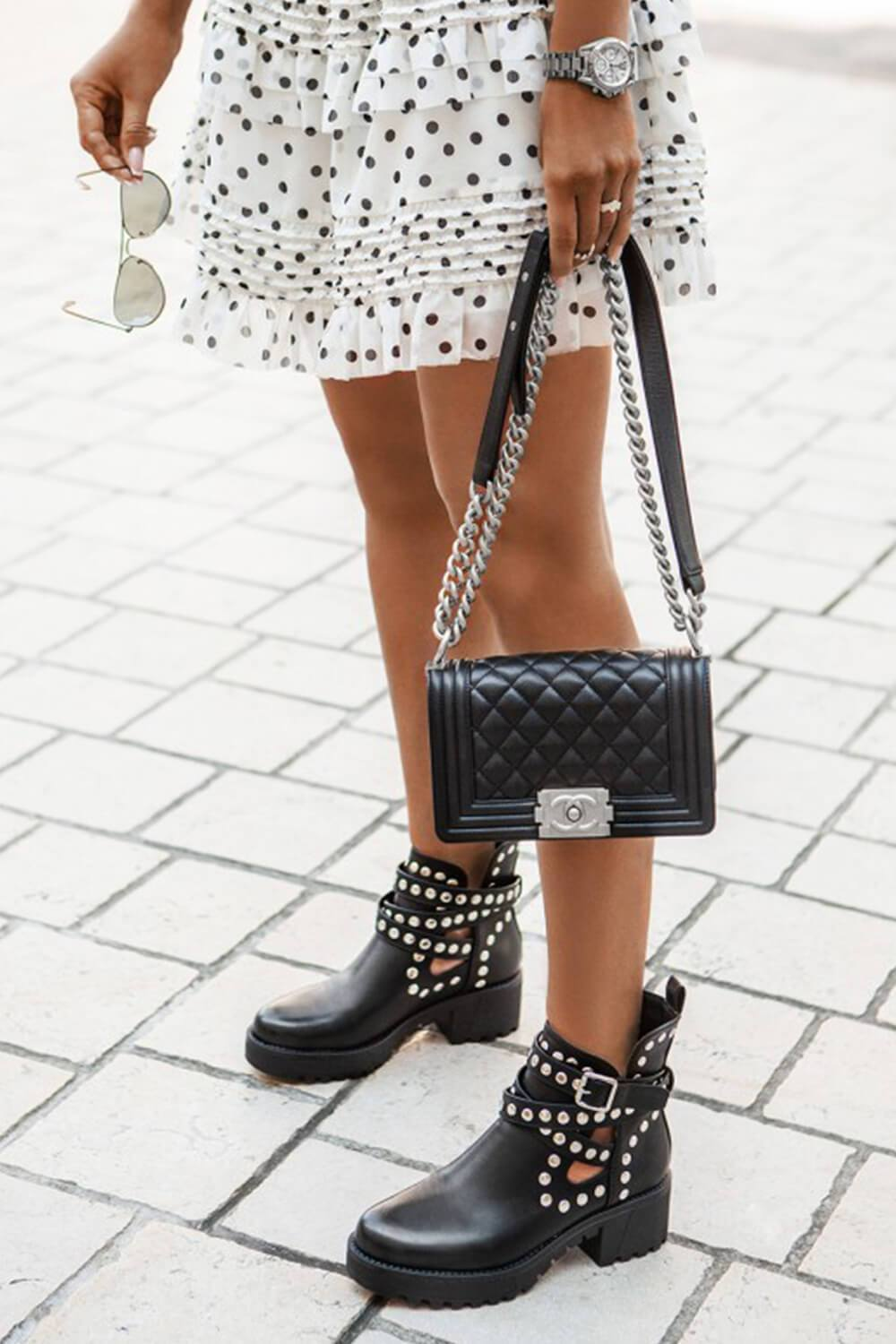 Black Stud Strappy Buckle Cut-Out Chunky Soled Boots