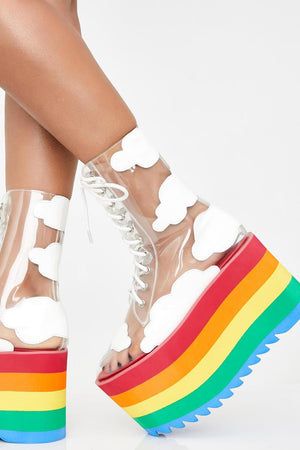 Clear Cloud Lace Up Rainbow Platform Chunky Boots