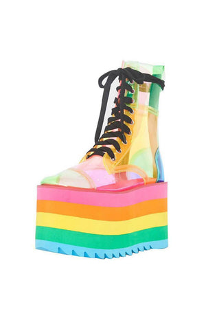 Rainbow Color Block Lace Up Pvc Platform Chunky Boots
