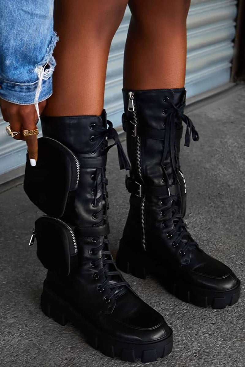 Black Leather Lace Up Pouch Detail Chunky Mid Calf Biker Boots