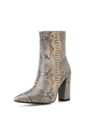 Python Print Block Heel Ankle Boots