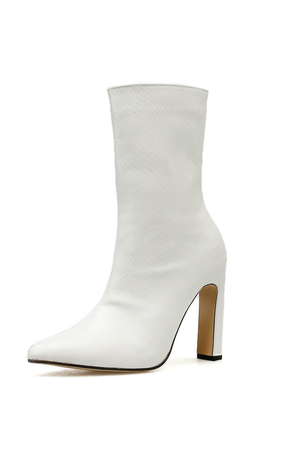 White Lizard Slim Block Heel Ankle Boots