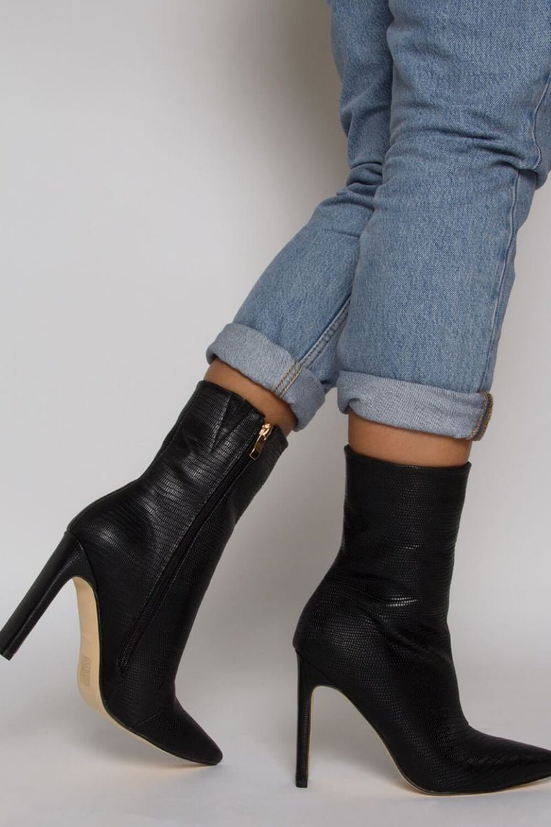 Black Lizard Slim Block Heel Ankle Boots