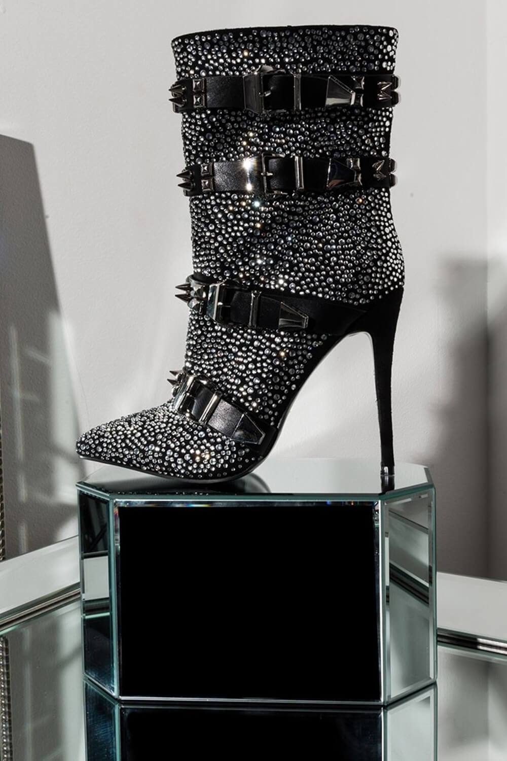 Studded Buckle Straps Diamond Mid Calf Heeled Bootie